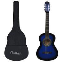 vidaXL 8dílný set klasická kytara pro začátečníky modrá 1/2 34''