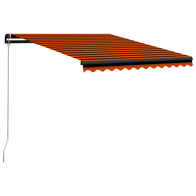 vidaXL Ručně zatahovací markýza s LED světlem 300x250cm oranžovo-hnědá