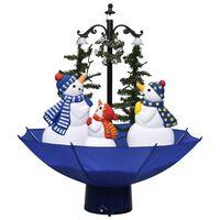vidaXL Sněžící vánoční stromek s deštníkovým stojanem modrý 75 cm PVC