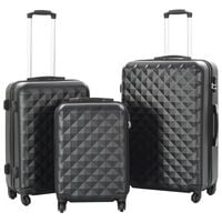 vidaXL Sada skořepinových kufrů na kolečkách 3 ks černá ABS