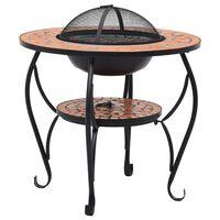 vidaXL Mozaikový stolek s ohništěm terakotový 68 cm keramika