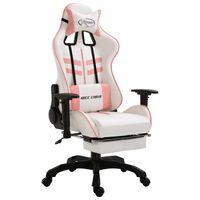 vidaXL Herní židle s podnožkou růžová umělá kůže