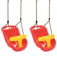 vidaXL Houpačky pro batolata 2 ks s bezpečnostním pásem PP červené