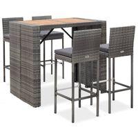 vidaXL 5dílný zahradní barový set polyratan a akáciové dřevo šedý