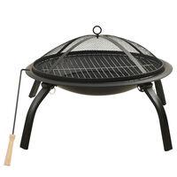 vidaXL Mísa na oheň a gril s pohrabáčem 56 x 56 x 49 cm ocel