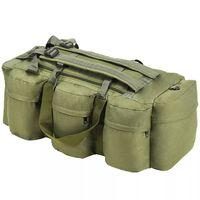 vidaXL Sportovní taška 3v1 v army stylu, 120 l, olivově zelená