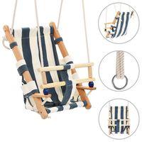 vidaXL Houpačka pro batolata s bezpečnostním pásem bavlna dřevo modrá