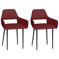 vidaXL Jídelní židle 2 ks vínově červené umělá kůže