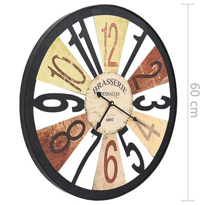 vidaXL Nástěnné hodiny kovové 60 cm vícebarevné