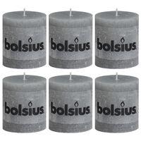 Bolsius Rustikální válcové svíčky 6 ks 80 x 68 mm světle šedé
