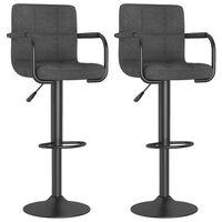 vidaXL Barové stoličky 2 ks tmavě šedé textil