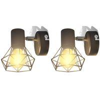 2 černá industriální nástěnná svítidla, drátěná stínítka + LED žárovky