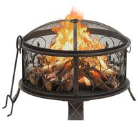 vidaXL Rustic Fire Pit with Poker 67,5 cm XXL Steel