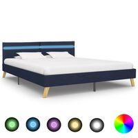 vidaXL Rám postele s LED světlem modrý textil 180 x 200 cm