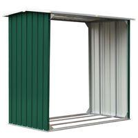 vidaXL Kůlna na dříví pozinkovaná ocel 172 x 91 x 154 cm zelená