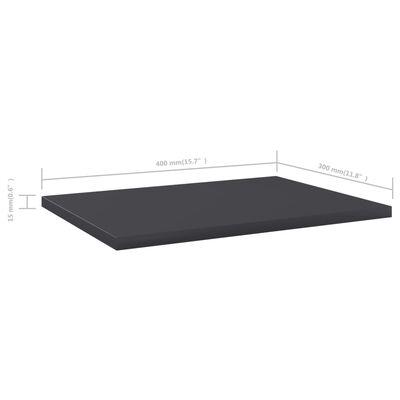 vidaXL Přídavné police 8 ks šedé 40 x 30 x 1,5 cm dřevotříska