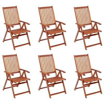 vidaXL Skládací zahradní židle 6 ks masivní akáciové dřevo