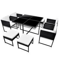vidaXL 13dílný zahradní jídelní set s poduškami polyratan černý