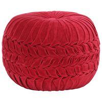 vidaXL Sedací puf bavlněný samet nařasený 40 x 30 cm červený