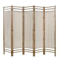 vidaXL Skládací 5dílný paraván bambus a plátno 200 cm
