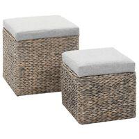 vidaXL Sada taburetů 2 kusy z mořské trávy šedá