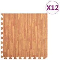 vidaXL Podložky na cvičení 12 ks kresba dřeva 4,23 ㎡ EVA pěna