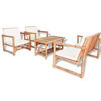 vidaXL 4dílná zahradní sedací souprava s poduškami bambusová