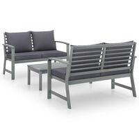 vidaXL 3dílná zahradní sedací souprava s poduškou masivní akácie šedá