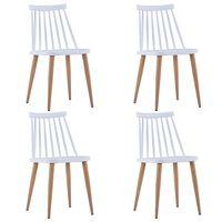 vidaXL Jídelní židle 4 ks bílé plastové