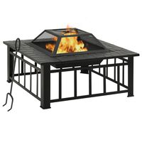 vidaXL Garden Fire Pit with Poker 81x81x47 cm XXL Steel