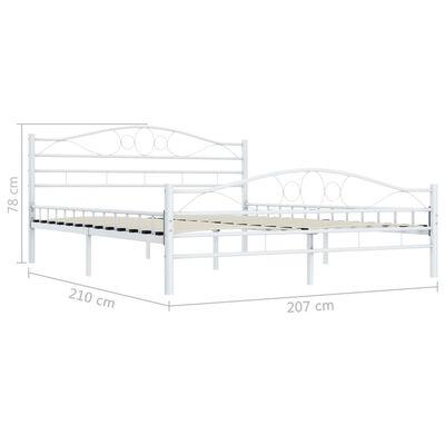 vidaXL Rám postele bílý kovový 200 x 200 cm