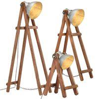 vidaXL Stojací lampy 3 ks stříbrné E27 masivní mangovníkové dřevo