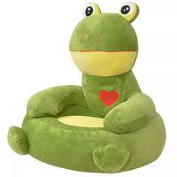 vidaXL Plyšové dětské křeslo žába zelená