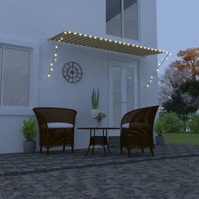 vidaXL Zatahovací markýza s LED světlem 350 x 150 cm žlutobílá