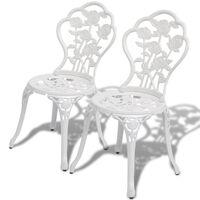 vidaXL Bistro židle 2 ks litý hliník bílé
