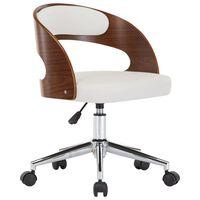 vidaXL Otočná kancelářská židle bílá ohýbané dřevo a umělá kůže