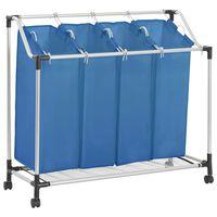 vidaXL Koš na třídění prádla se 4 vaky modrý ocel
