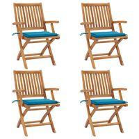 vidaXL Skládací zahradní židle s poduškami 4 ks masivní teak