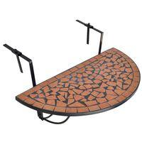 vidaXL Závěsný stolek na balkon terracotta mozaika