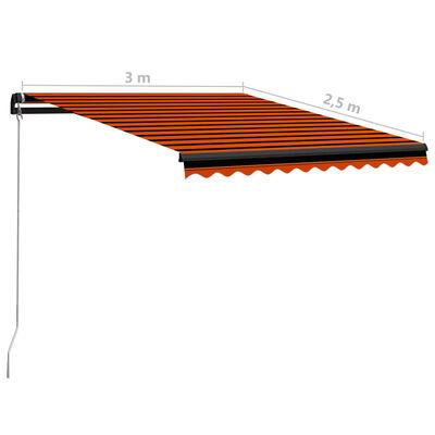vidaXL Ručně zatahovací markýza 300 x 250 cm oranžovo-hnědá