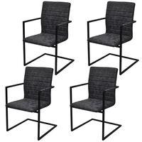 vidaXL Konzolové jídelní židle 4 ks černé umělá kůže