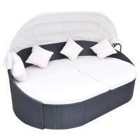 vidaXL Zahradní postel s baldachýnem polyratan černá