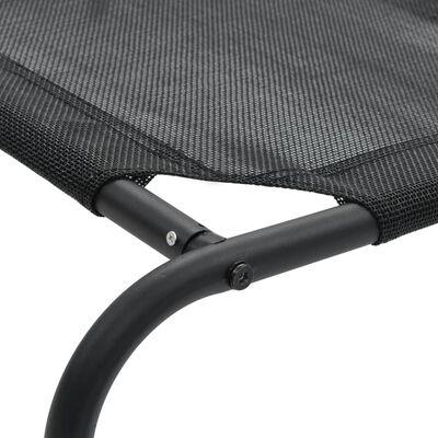 vidaXL Vyvýšený pelíšek pro psy černý S textilen