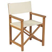 vidaXL Skládací režisérská židle masivní akácie krémové bílé