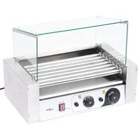 vidaXL Hot Dog 7 Roller Grilling Machine with Glass Cover 1400 W