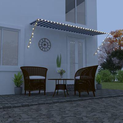 vidaXL Zatahovací markýza s LED světlem 400 x 150 cm modrobílá