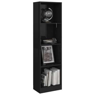 vidaXL Knihovna 4 police černá vysoký lesk 40x24x142 cm dřevotříska