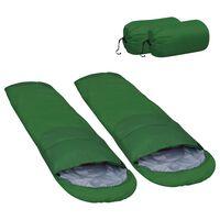 vidaXL Lehké spací pytle 2 ks zelené 15 °C 850 g