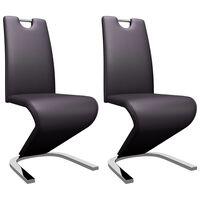 vidaXL Jídelní židle s cik-cak designem 2 ks hnědé umělá kůže