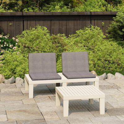 vidaXL 2dílná zahradní sedací souprava s poduškami plast bílá